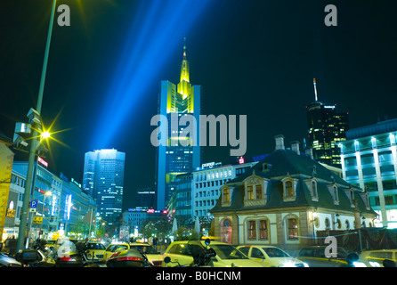Frankfurt illuminated at night, buildings lit with special lighting on the occasion of the Luminale, biannual lighting - Stock Photo