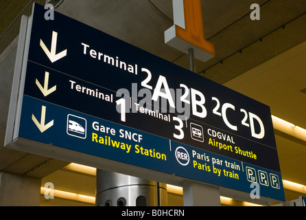 Directional sign, Charles de Gaulle International Airport, Paris, France, Europe - Stock Photo