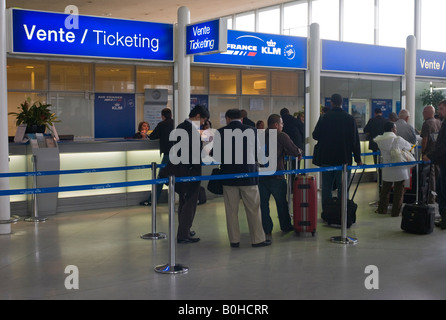 Ticketing, ticket counters, Charles de Gaulle International Airport, Paris, France, Europe - Stock Photo
