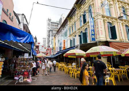 Chinatown, storefronts, shops on Neil Road in Singapore, Southeast Asia - Stock Photo