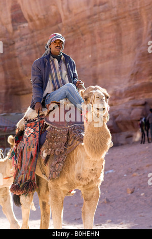 Bedouin man riding a camel, Petra, Jordan, Middle East - Stock Photo