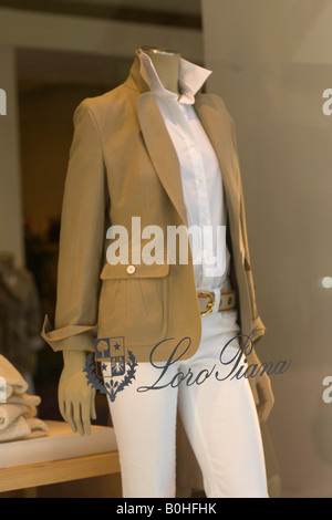 Female mannequin in the window display of the Loro-Piana fashion boutique on the Maximilianstrasse, Munich, Bavaria, - Stock Photo