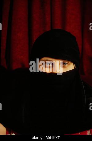 Portrait of a Muslim convert, Hartlepool, County Durham, England. - Stock Photo