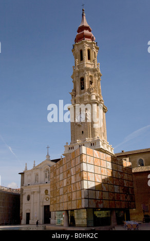 Belfry or bell tower of the Catedral de San Salvador cathedral, La Seo, in Saragossa or Zaragoza, Castile, Aragon, - Stock Photo
