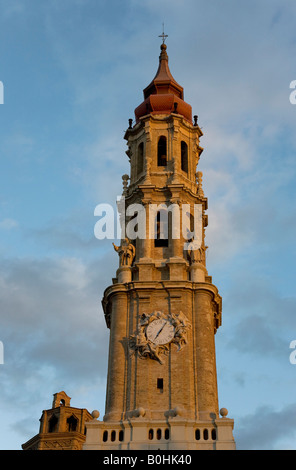 Belfry or bell tower of the Catedral de San Salvador cathedral, La Seo, in Saragossa or Zaragoza, Castile, Aragon, - Stock Photo