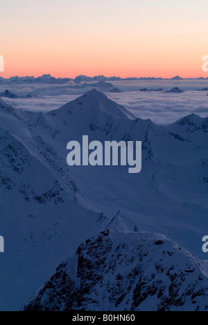 Silvretta Range, Hoher Riffler, viewed from Mt. Brunnenkogel, Oetztal Alps, Tyrol, Austria, Europe - Stock Photo