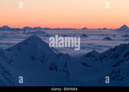 Silvretta Range, Mt. Hoher Riffler, Lechtal Alps viewed from Mt. Brunnenkogel, Oetztal Alps, Tyrol, Austria, Europe - Stock Photo