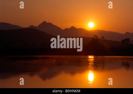 Sunrise over the Karwendel Range, Tyrol, Austria, Europe - Stock Photo