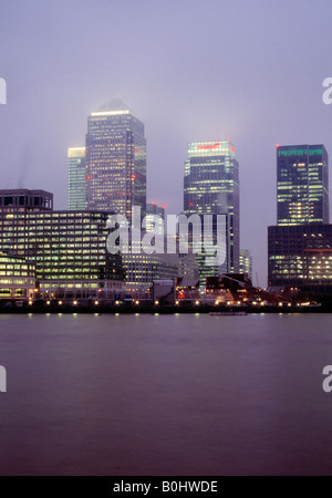 Canary Wharf Isle of Dogs Shot from across the Thames at Rotherhithe - Stock Photo