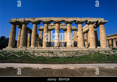 Temple of Hera, Paestum, Capaccio, Province of Salerno, Campania, Italy - Stock Photo