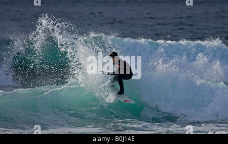Surfer surfing at Brimms Ness, during the O'Neill Highland Open 2008, Thurso, Caithness, Highlands, Scotland UK, - Stock Photo