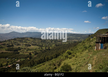 View over the Great Rift Valley in Kenya, Africa - Stock Photo