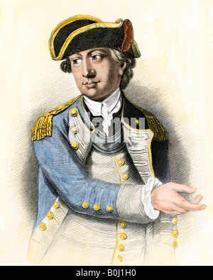 Continental Army General Charles Lee. Hand-colored steel engraving - Stock Photo
