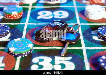 car keys on a roulette table - Stock Photo