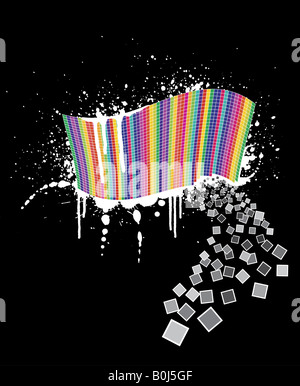 Vector illustration of a wavy rainbow wall full of squares with black ink splatter below it and white paint over it