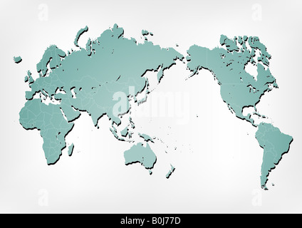 Stroked world map illustration with nation borders on a gradient background with a simple shadow - Stock Photo