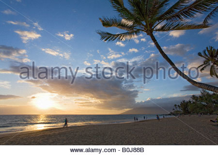 Sunset at Kamaole Beach County Park on the island of Maui in the state of Hawaii USA - Stock Photo