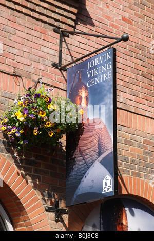 jorvik viking centre sign coppergate shopping centre york north yorkshire england uk - Stock Photo