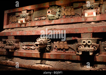 Reproduction of Temple of Quetzalcoatl or Plumed serpent god, Sala Teotihuacan, National Museum of Anthropology, - Stock Photo