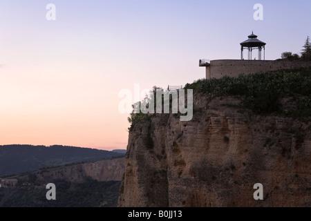 Ronda, Andalusia, Spain. Mirador at Blas Infante Promenade overlooking El Tajo gorge. Sunset