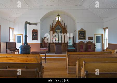 Pioneer Church in Frontier Village Jamestown North Dakota USA - Stock Photo