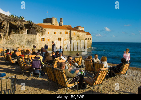 Beach just outside old town in Budva Montenegro Europe - Stock Photo