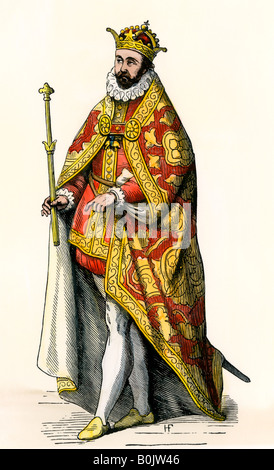 Philip II King of Spain. Hand-colored woodcut - Stock Photo