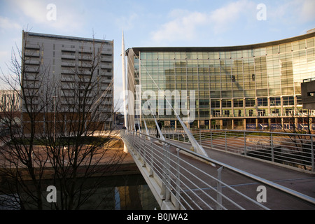 Trinity Bridge over the River Irwell. Manchester, Greater Manchester, United Kingdom. - Stock Photo