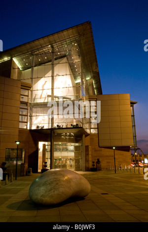 Bridgewater Hall at night. Manchester, Greater Manchester, United Kingdom. - Stock Photo