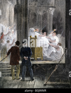 Stage murder of Julius Caesar viewed from behind the scenes 1880s. Hand-colored woodcut - Stock Photo