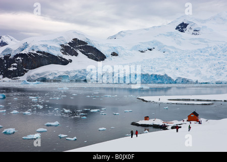 Argentine research base Almirante Brown in Paradise Harbour Antarctica - Stock Photo