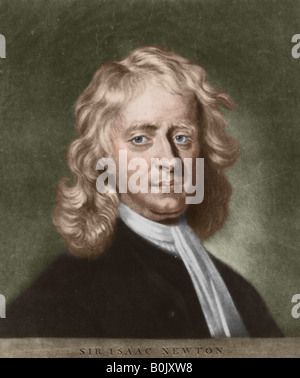 Sir Isaac Newton, 1642 - 1727, English physicist, mathematician and alchemist. - Stock Photo