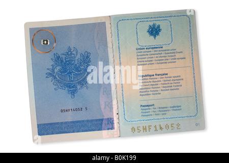 A RFID microchip on a French passport. Puce RFID sur un passeport Français (prototype). - Stock Photo