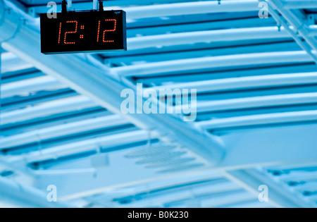 clock at Santos Dumont airport s boarding area Rio de Janeiro Brazil 12 07 07 - Stock Photo