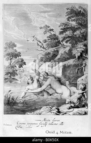 'The Nymph Salmacis and Hermaphroditus', 1655. Artist: Michel de Marolles - Stock Photo