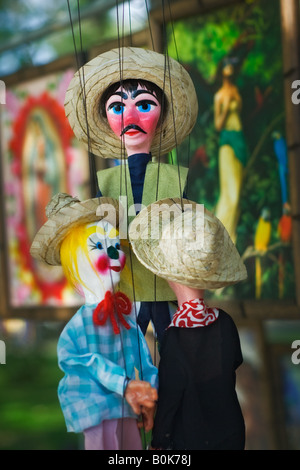 Souvenir marionettes are for sale in the Tecate town square in Tecate, Baja California Norte, Mexico - Stock Photo