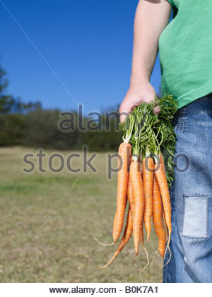 Young boy standing outdoors holding bunch of carrots - Stock Photo