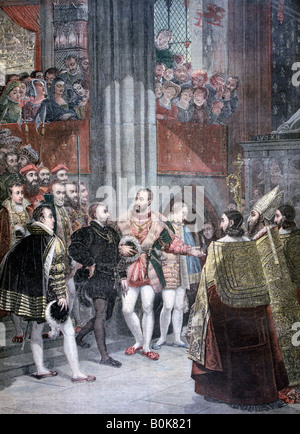 'Charles I and Charles Quint in the Basilica of Saint Denis', Paris, 1893. Artist: Unknown - Stock Photo
