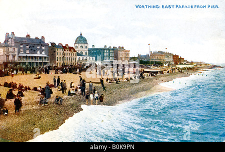 East Parade from the pier, Worthing, Sussex, early 20th century. Artist: Unknown - Stock Photo