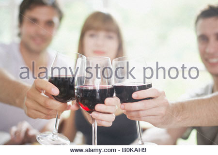 three people toasting red wine - Stock Photo