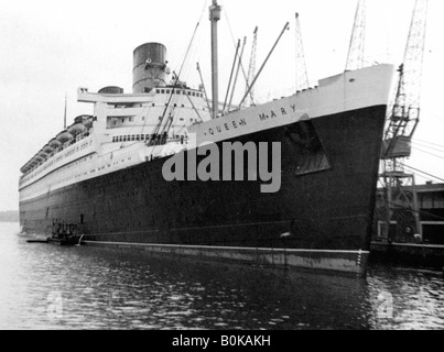 Ocean liner RMS 'Queen Mary', 20th century. - Stock Photo
