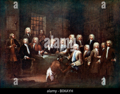 A Committee of the House of Commons at the Fleet Street Prison, London, 1729 (c1905). Artist: Unknown - Stock Photo
