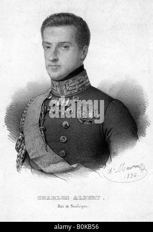 Charles Albert of Sardinia, King of Sardinia, 1836. Artist: Unknown - Stock Photo