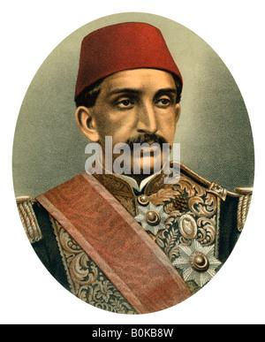 Abdul Hamid II, Sultan of Turkey, late 19th century. Artist: Unknown - Stock Photo