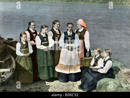 Women and children in national costume, Sognafjorden, Norway, c1890. Artist: L Boulanger - Stock Photo