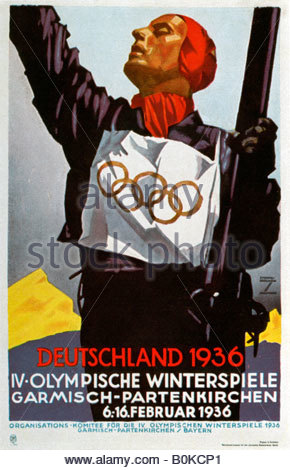 Poster for the 1936 Winter Olympic Games in Garmisch-Partenkirchen, Germany, 1936. Artist: Ludwig Hohlwein - Stock Photo