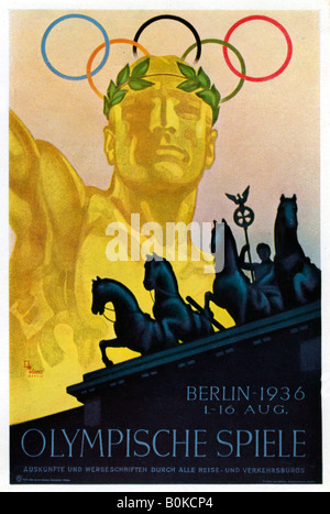 Poster for the 1936 Olympic Games, Berlin, 1936. Artist: Unknown - Stock Photo