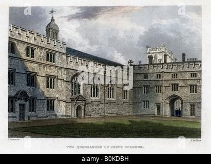 The Quadrangle of Jesus College, Oxford University, c1830s. Artist: John Le Keux - Stock Photo