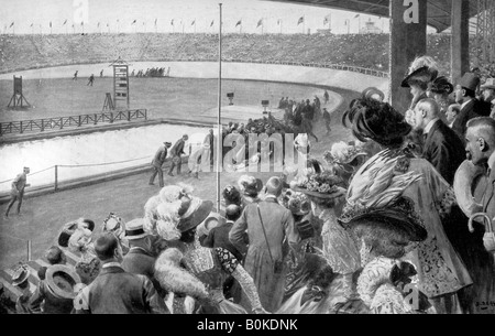 The finish of the marathon, Olympic Games, London, 1908, (c1920). Artist: Unknown - Stock Photo