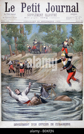 Self-sacrifice of a French cuirassier, 1900. Artist: Unknown - Stock Photo